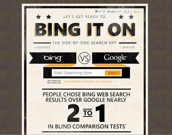 Bing vs Google analysis bingiton start screen