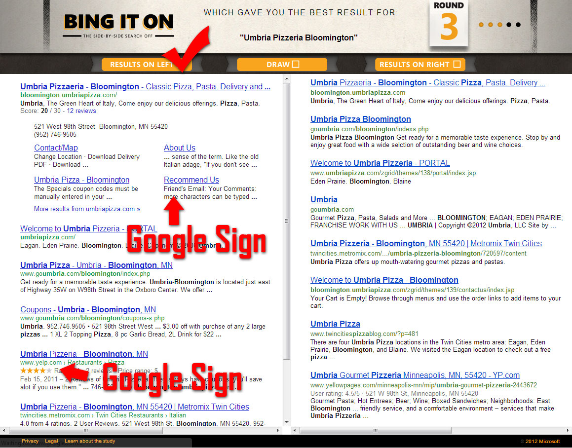 Bing vs Google analysis search term umbria pizzeria bloomington