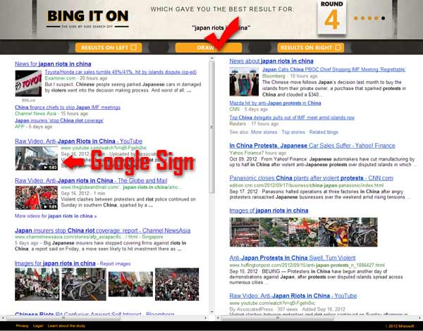 Bing vs Google analysis search term japan riots china