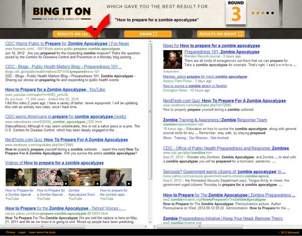 Bing vs Google analysis search term how to prepare for a zombie apocalypse