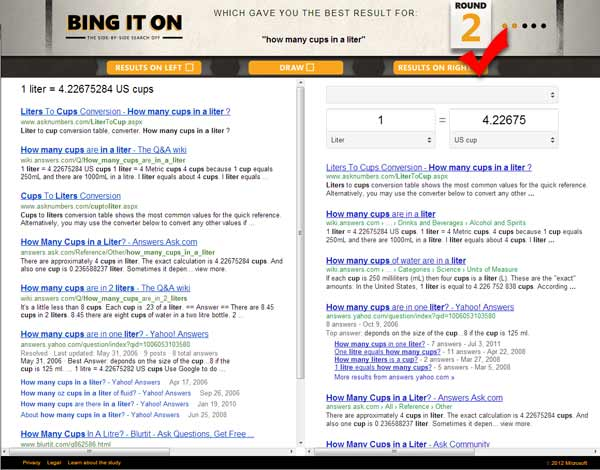 Bing vs Google analysis search term how many cups in a liter