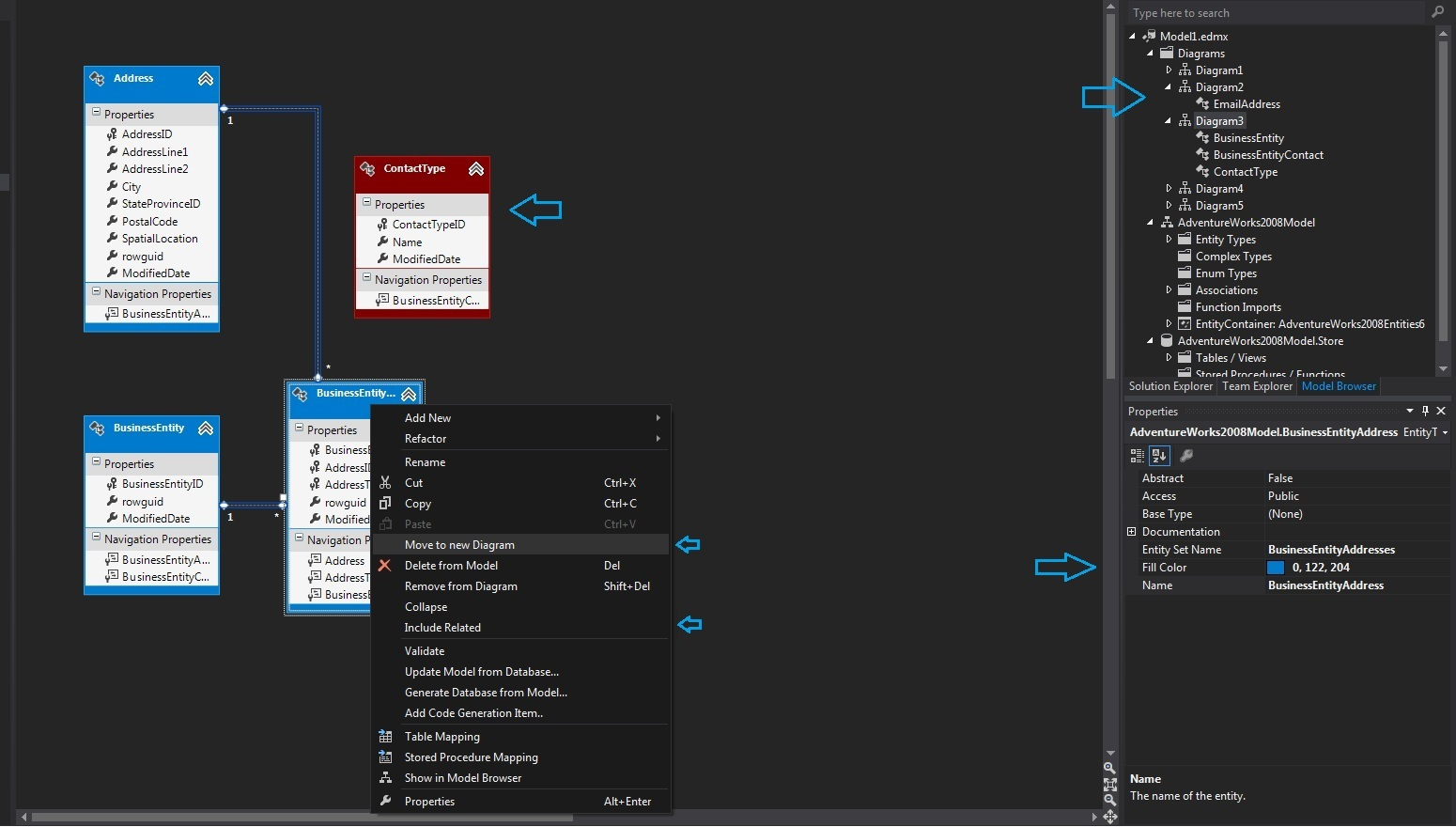 Whats new in entity framework 50 mentormate multiple diagrams per model the new visual studio ccuart Image collections