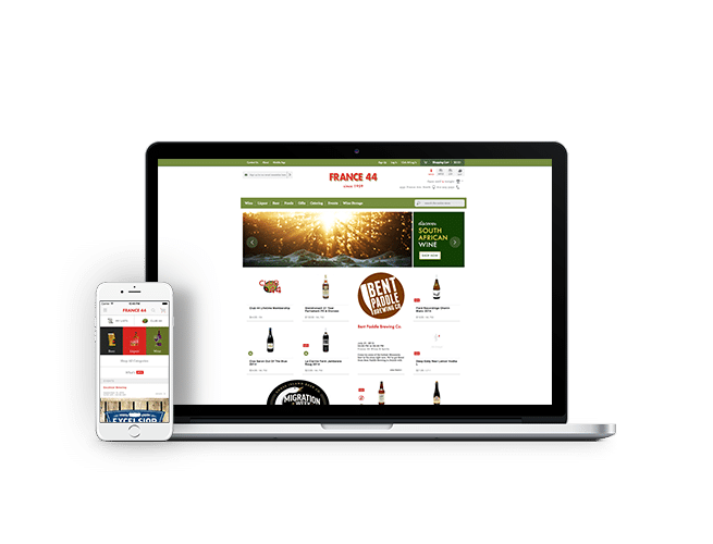 France 44 Liquors mobile app and eCommerce website