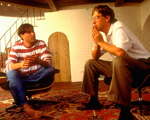 Young Steve Jobs and Bill Gates hanging out together in the basement