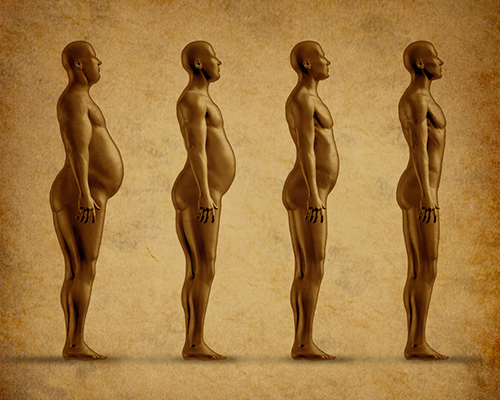 a progression of a chubby human being getting progressively skinnier