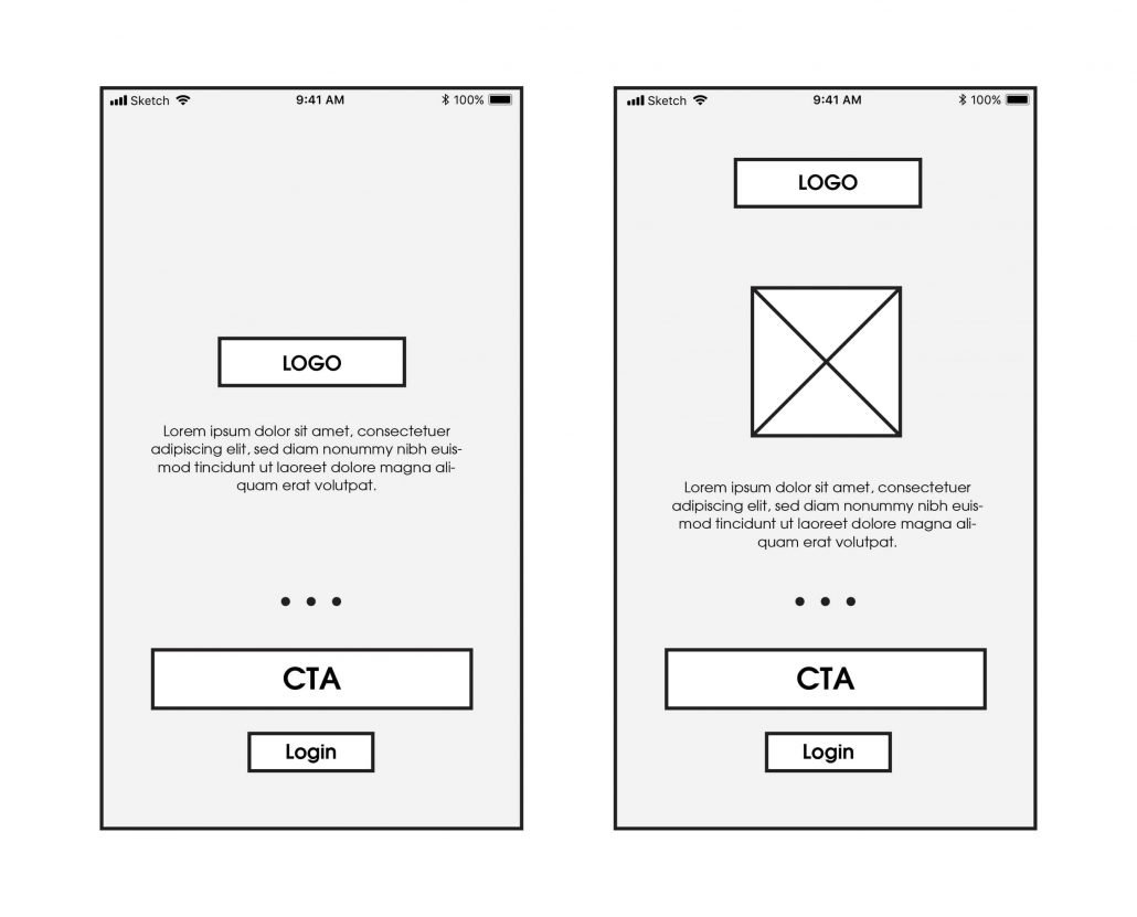 Medium fidelity wireframes