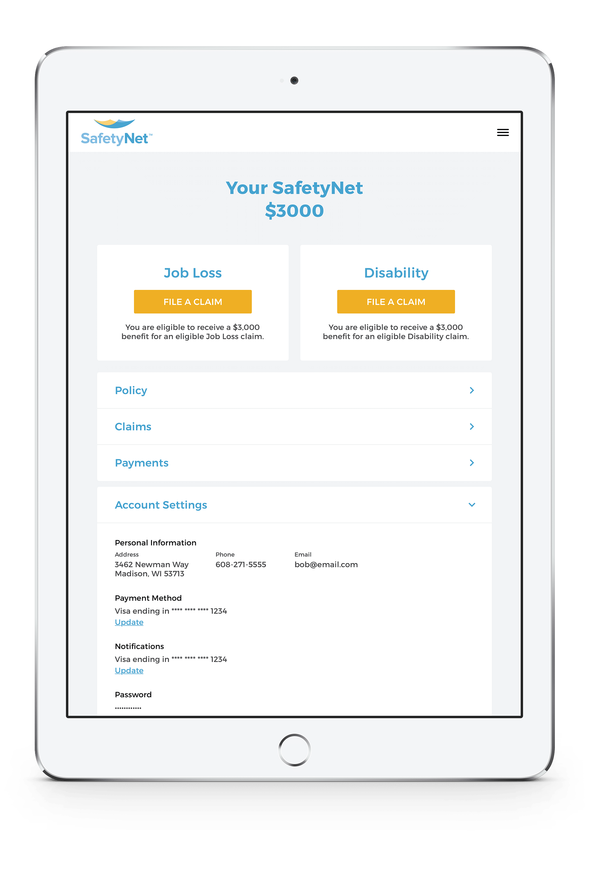 SafetyNet insurance app on ipad