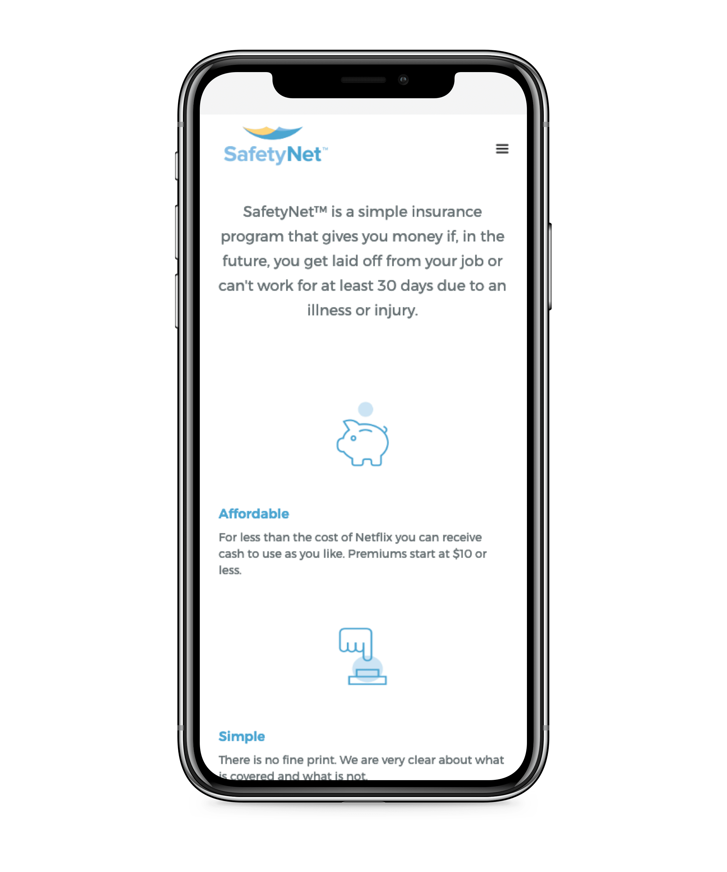 SafetyNet insurance app on iphone