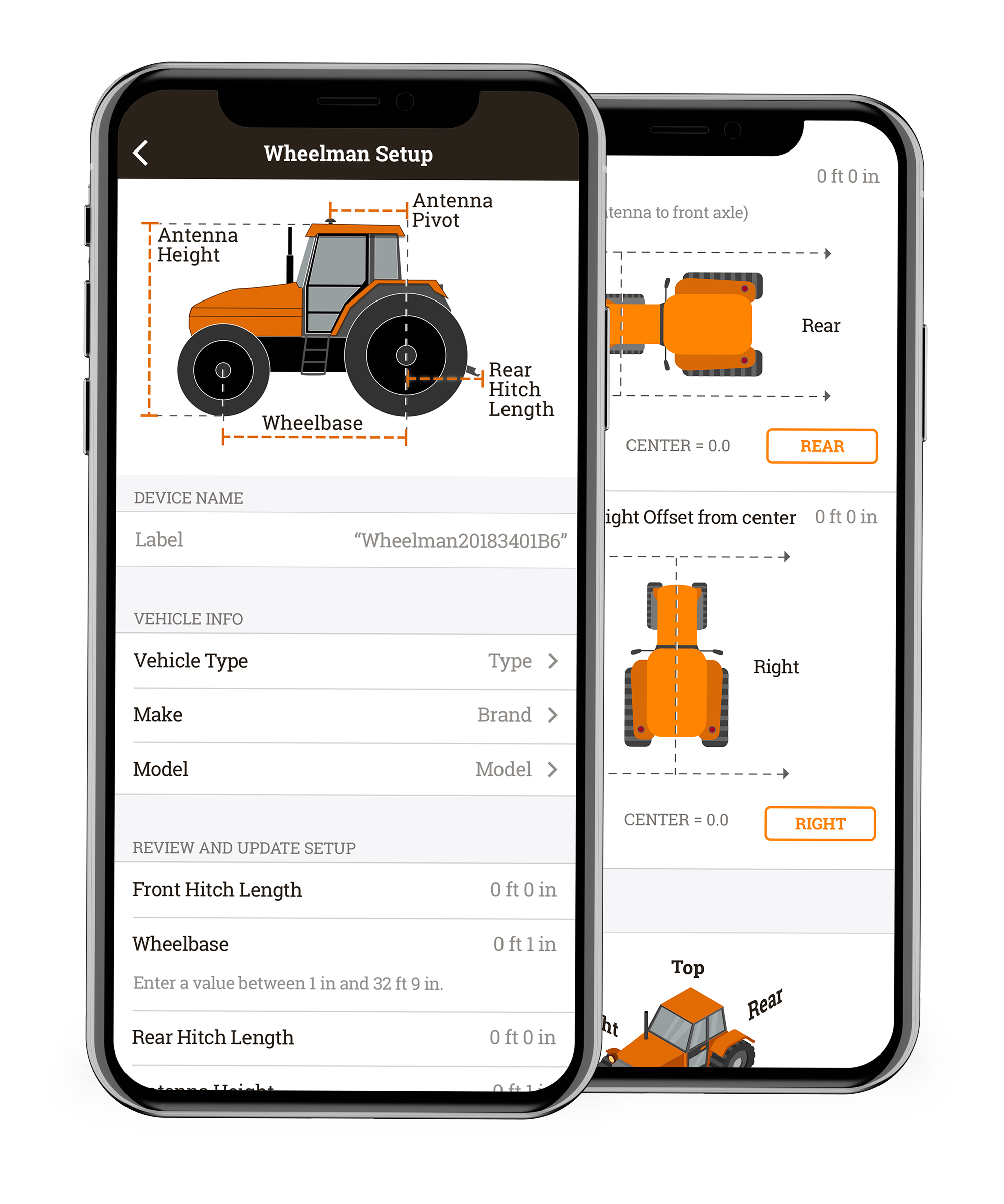 Screenshots of the Whirl app, showcasing the level of detail surrounding the tractor info and dimensions.