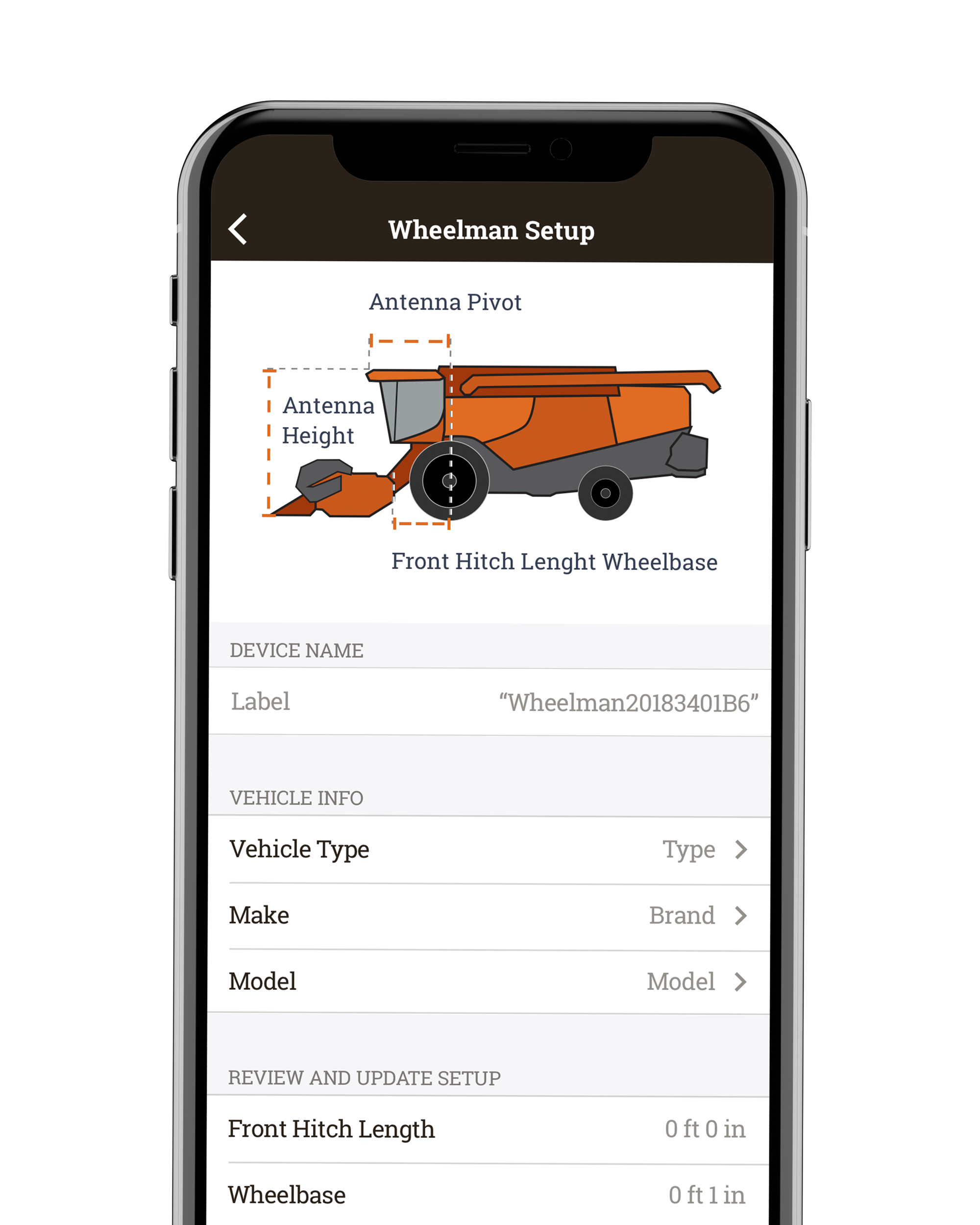 Screenshot of the Wheelman Setup within the Whirl app, where you can input information about your tractor.