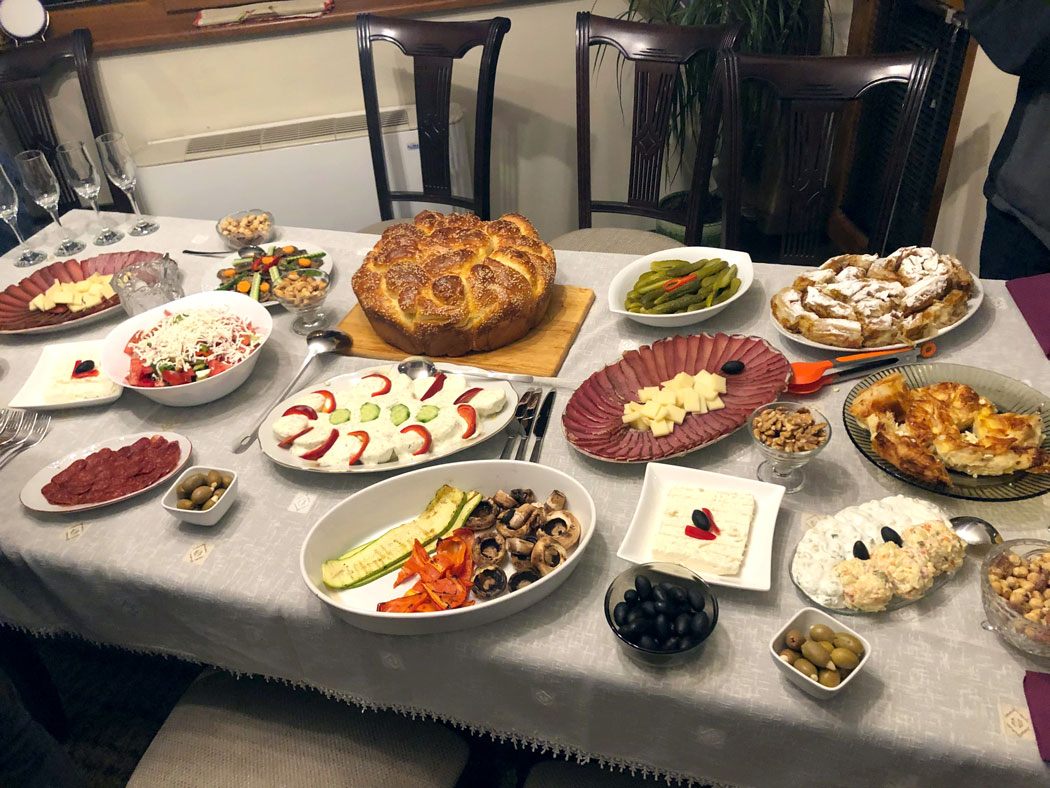 A large spread of Bulgarian food