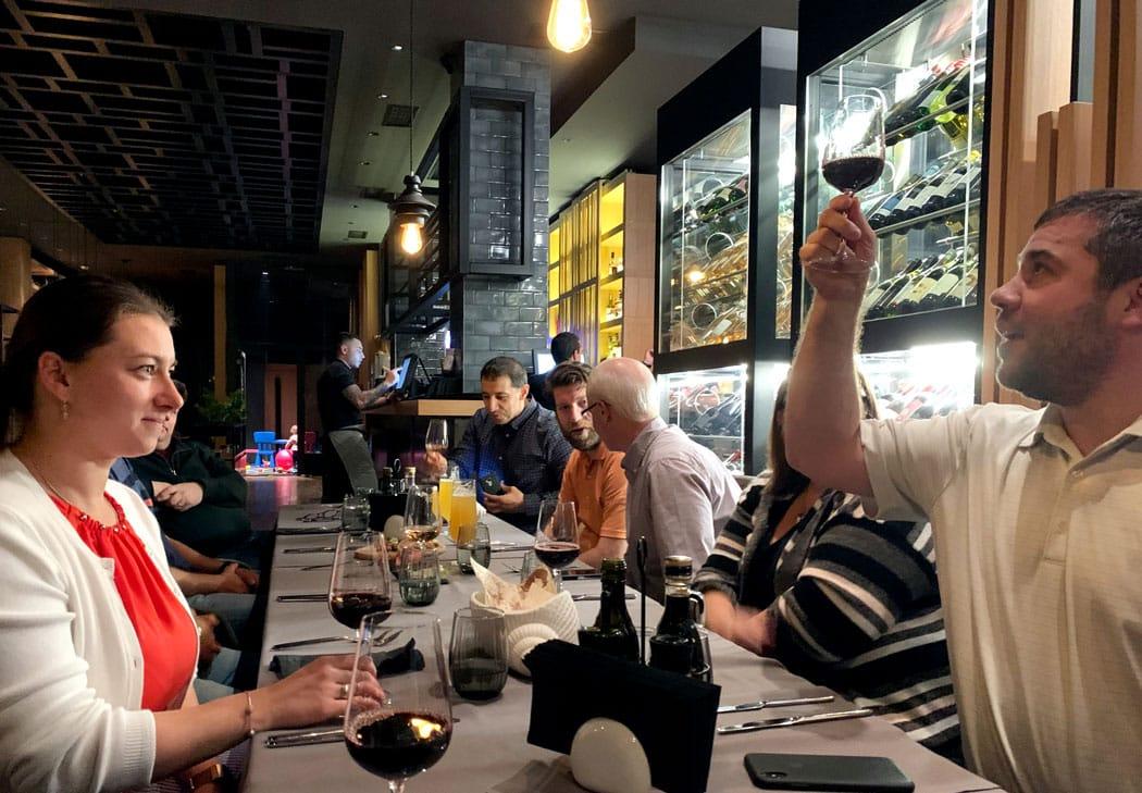 The MentorMate and Edmentum teams enjoying dinner in Sofia Bulgaria