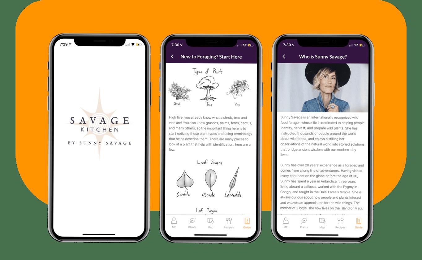 Savage Kitchen App Guide screens