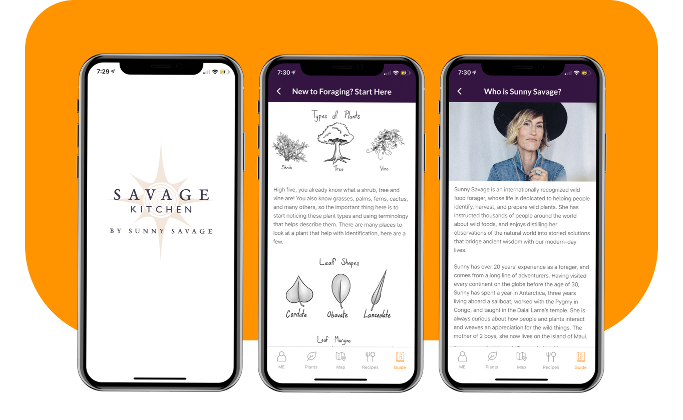 Savage Kitchen App Guide screens